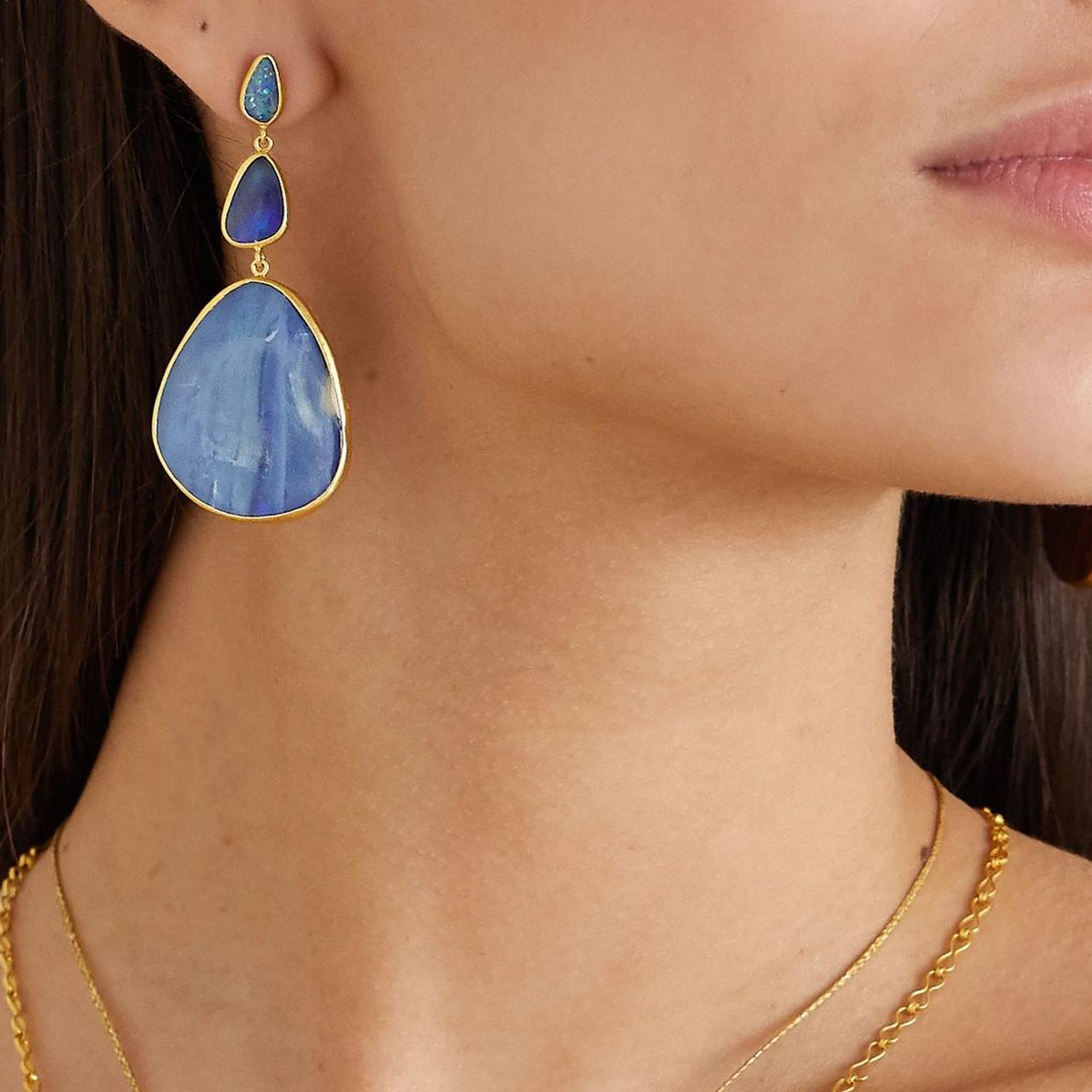 Pippa Small 18-karat gold opal earrings model