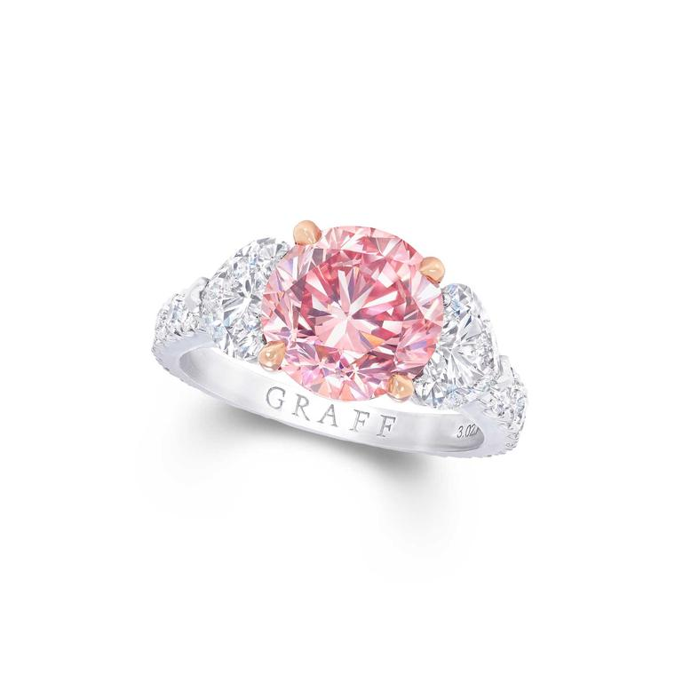 Graff Fancy Vivid purple pink round diamond ring