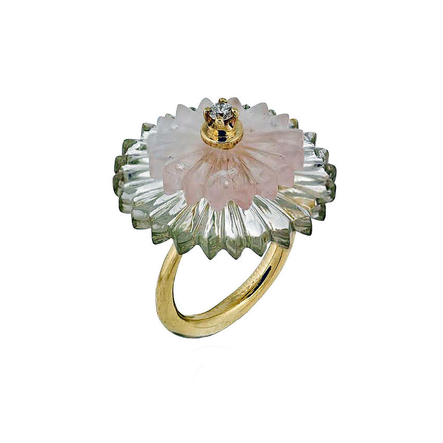 Alice Cicolini rock crystal and rose quartz Summer Snow ring