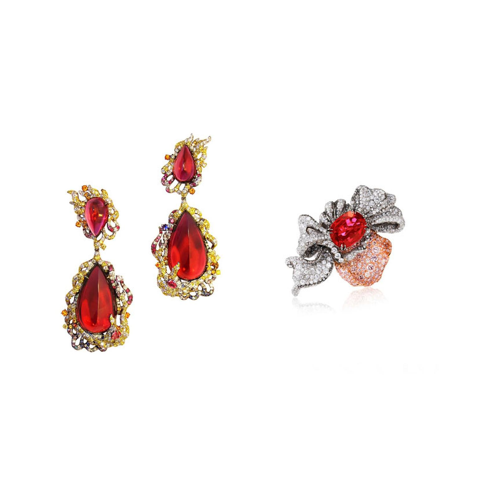 Anna Hu ruby earrings and ring from oscars