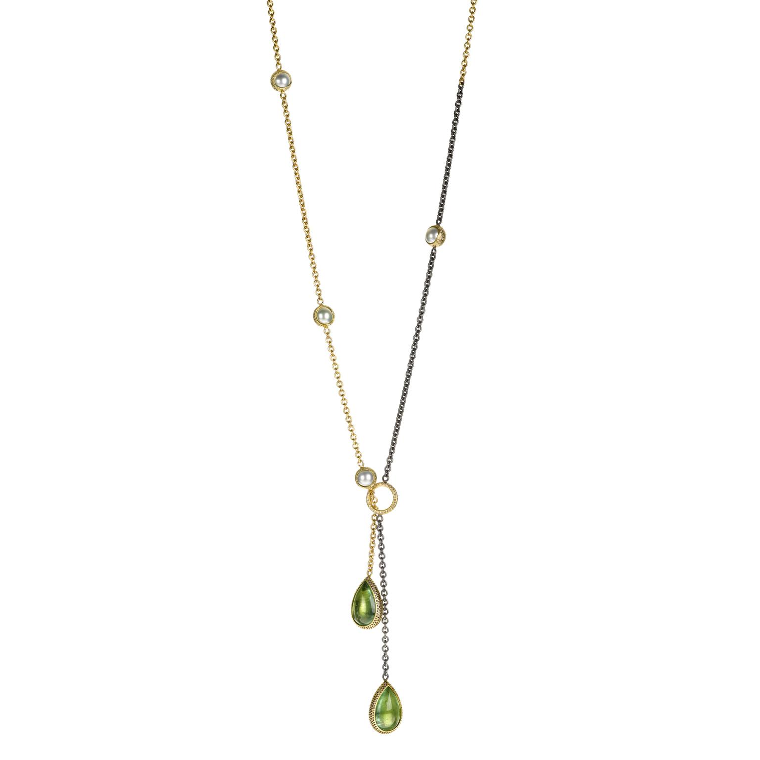 Todd Reed lariat with tourmalines diamonds sapphires emeralds pearls
