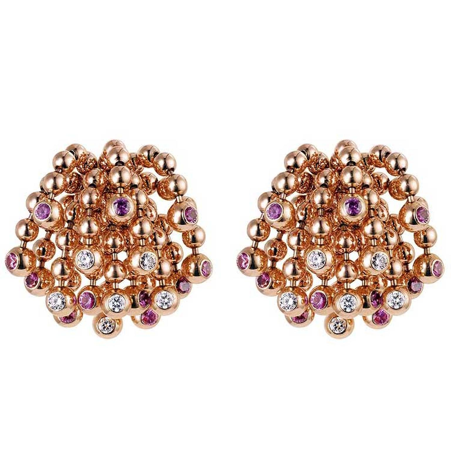Cartier Paris Nouvelle Vague Sparkling rose gold earrings with diamonds and pink sapphires