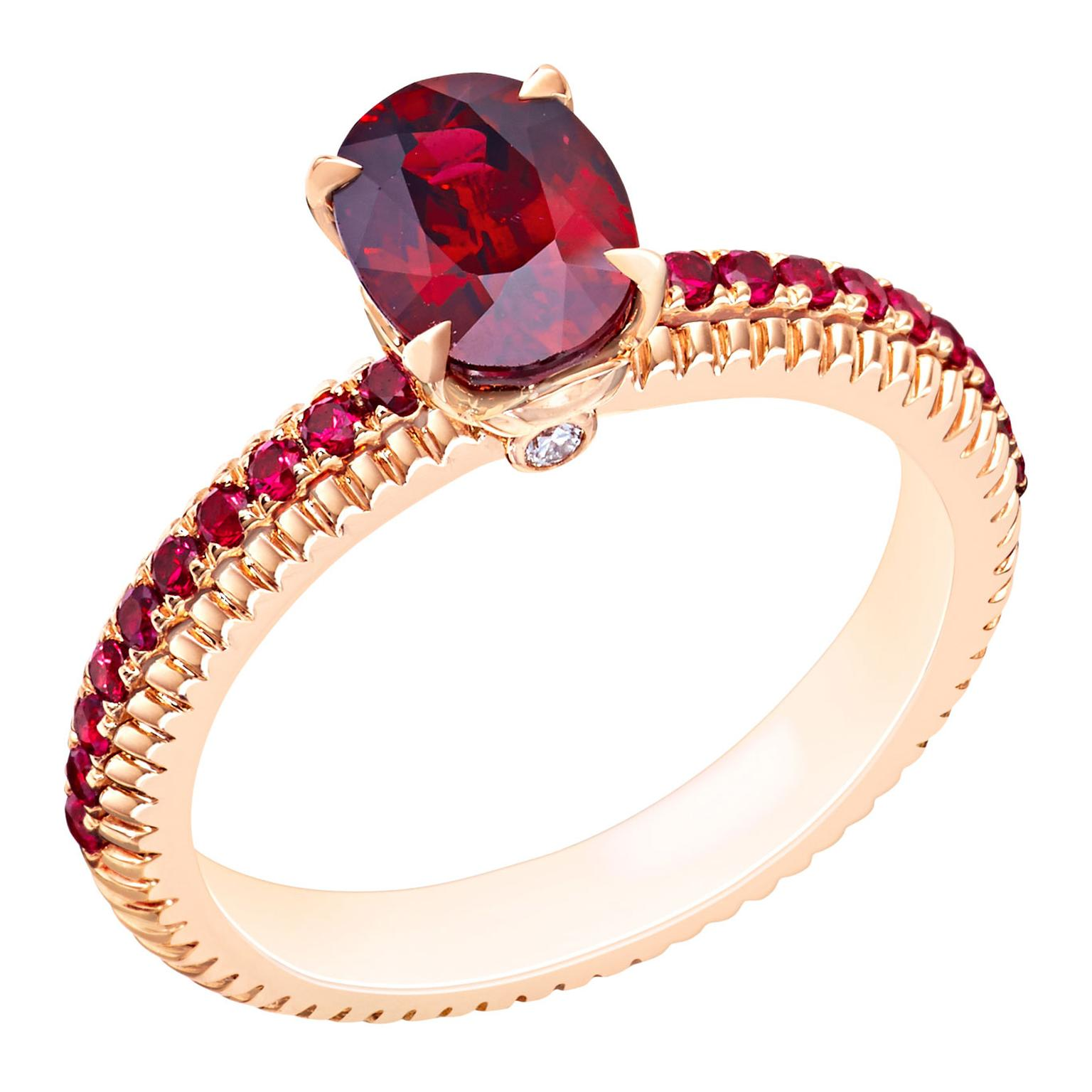 Fabergé ruby fluted engagement ring