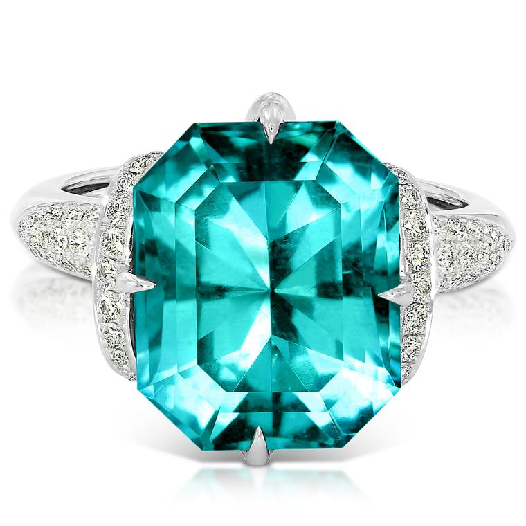 Emerald-cut Carribean Blue apatite ring