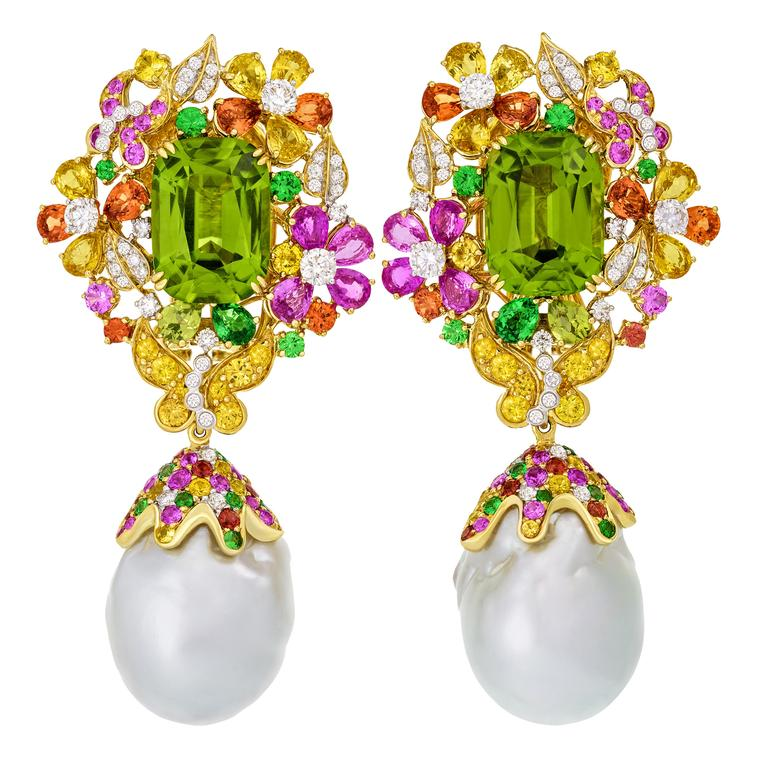 Butterfly Garden peridot and baroque pearl earrings