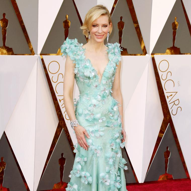 Cate Blanchett in Tiffany earrings and diamond cuff
