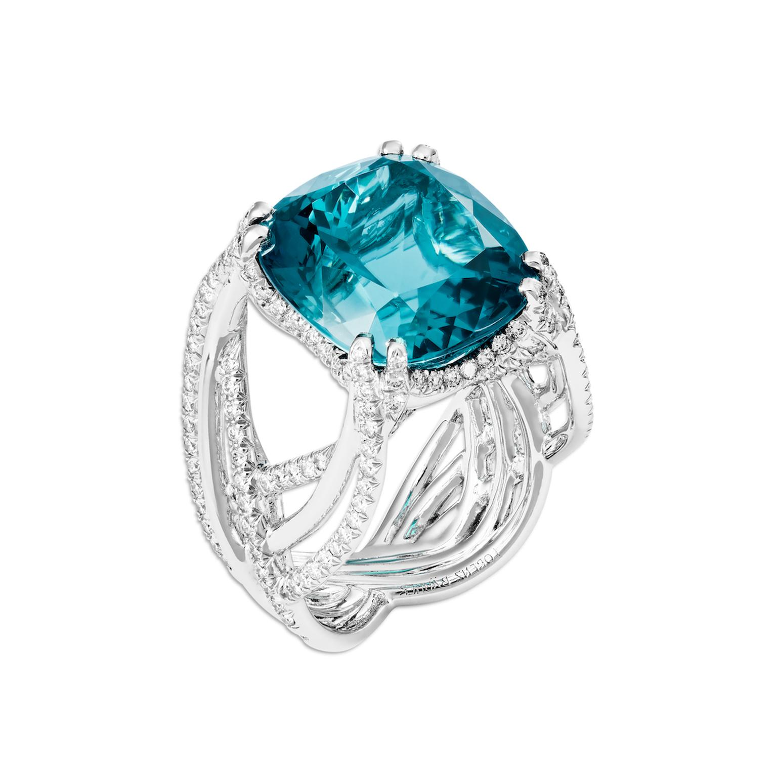 Lorenz Baumer Oasis blue tourmaline ring with diamonds