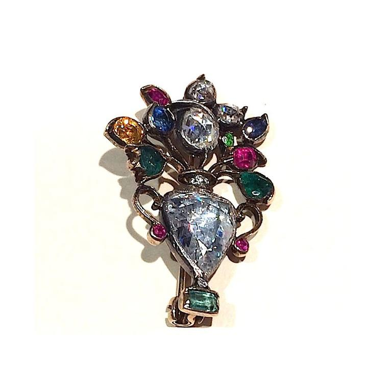 Antique brooches Spicer Warin Georgian brooch with giardinetti diamond, emerald, sapphire and ruby