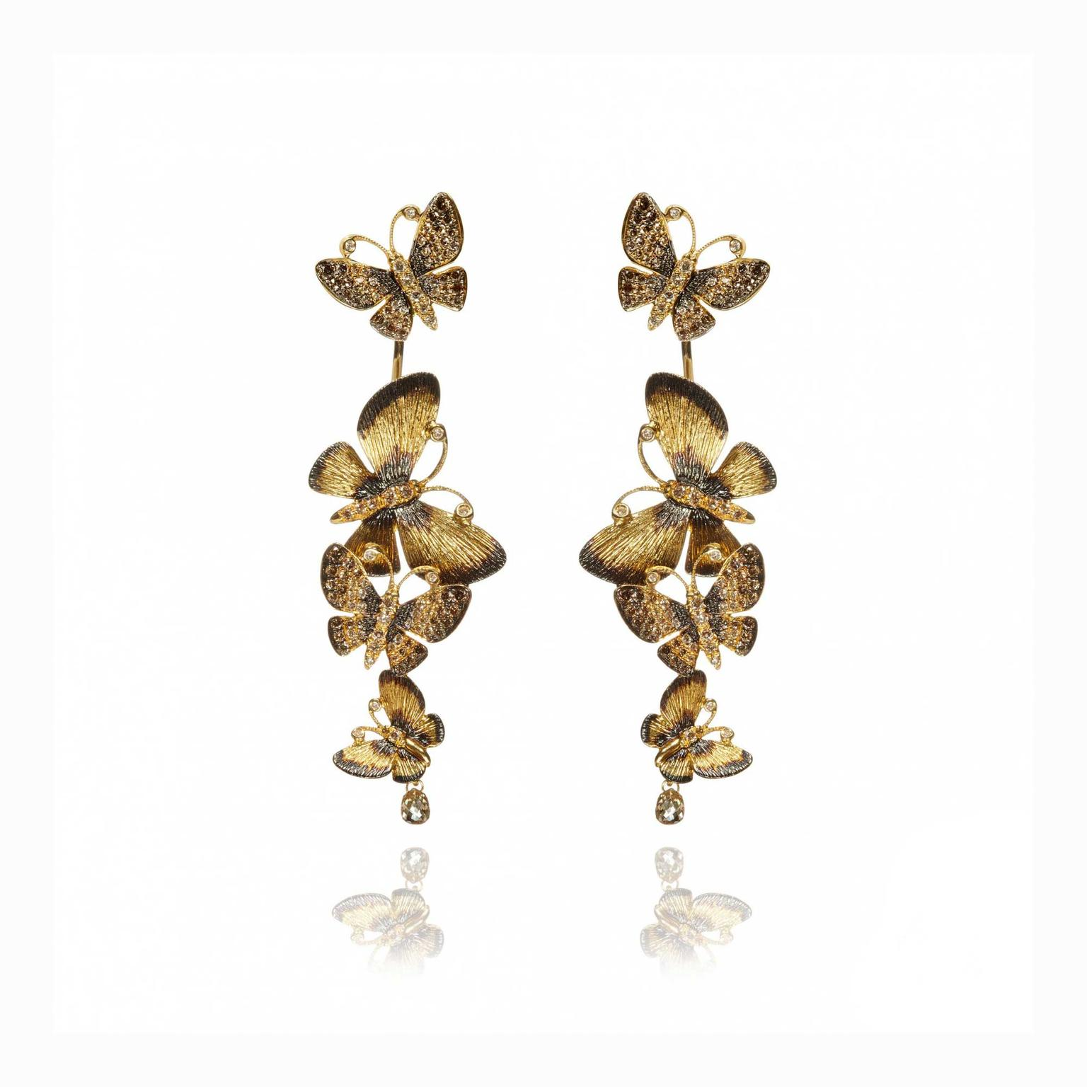 Annoushka 18ct gold butterflies drop earrings with diamonds