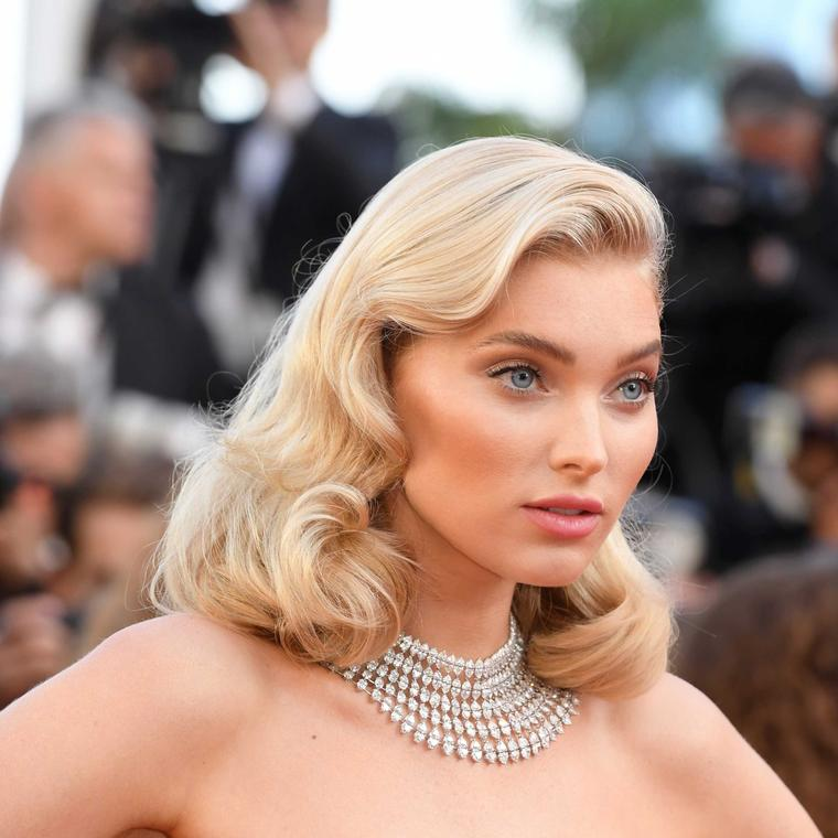 Elsa Hosk in Chopard diamond necklace at Cannes Film Festival