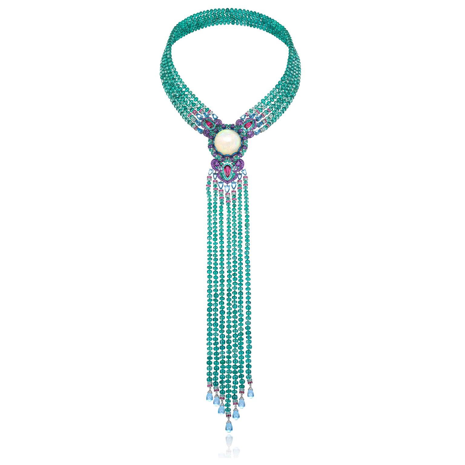 Chopard Red Carpet necklace with a white opal and emerald beads