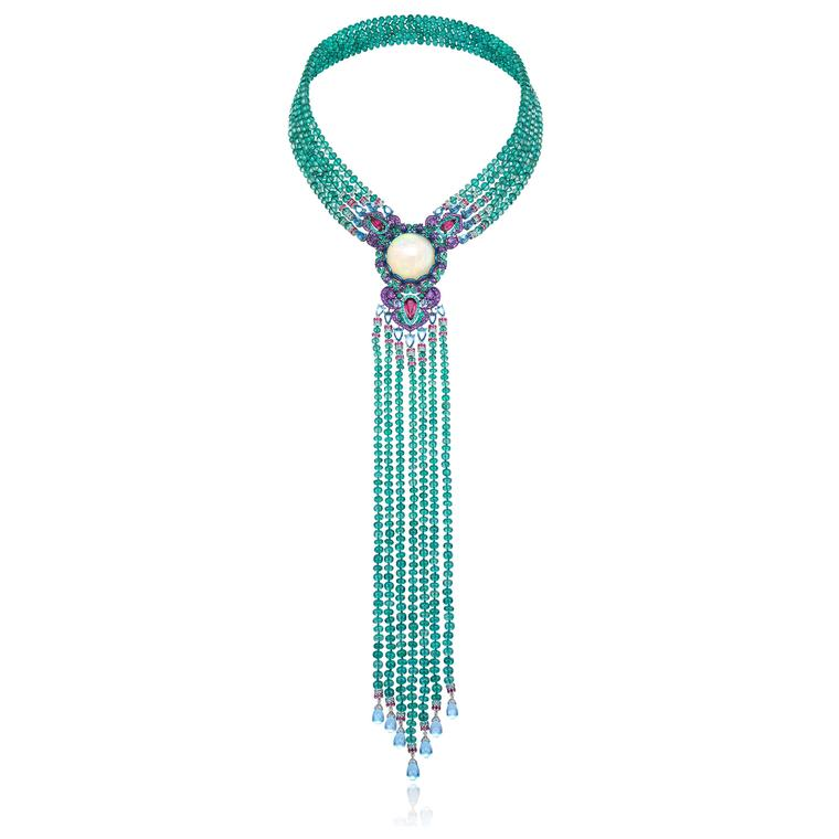 Red Carpet white opal and emerald bead tie-necklace