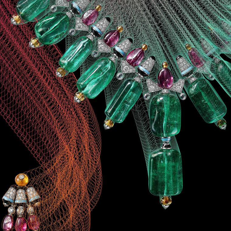 Detail of Cartier Chromaphonia emerald necklace and earrings from Coloratura collection 2018