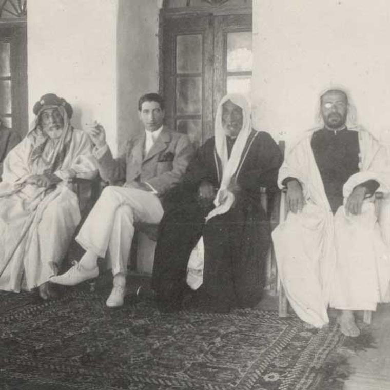 Jacques Cartier (centre) on his first trip to the Persian Gulf to buy pearls, 1911.