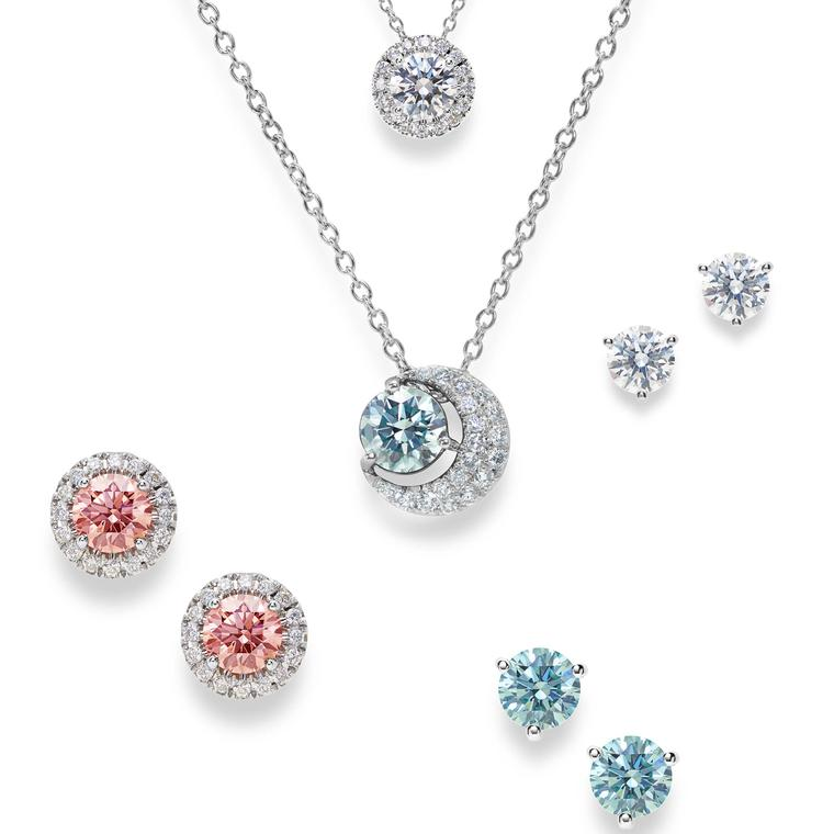 De Beers Lightbox blue white and pink diamond jewels