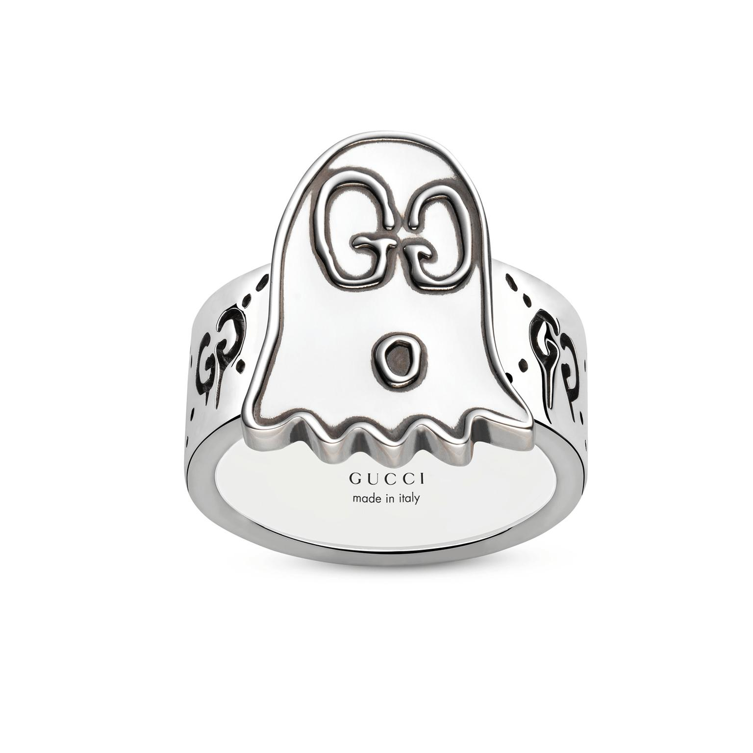 GucciGhost engraved band ring in silver