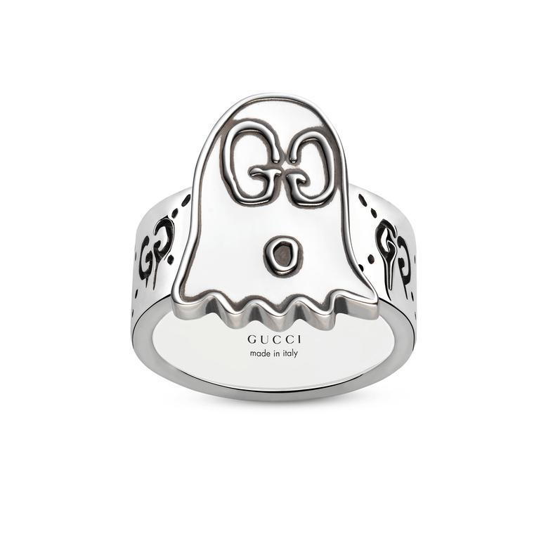 GucciGhost engraved ring in sterling silver