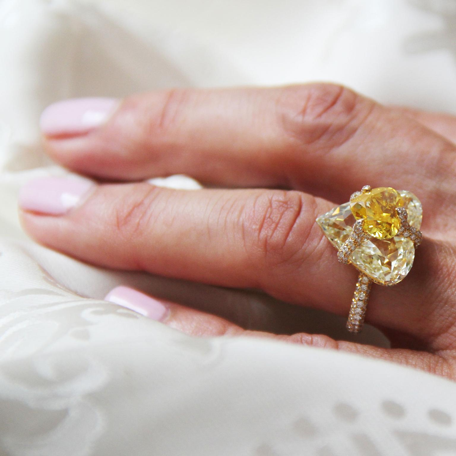 Boghossian Kissing Diamond ring with a heart-shape orangy yellow diamond atop a yellow diamond