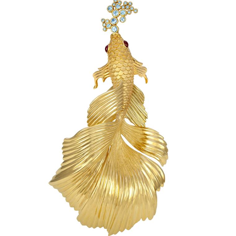 Paula Crevoshay Siamese Fighting Fish brooch
