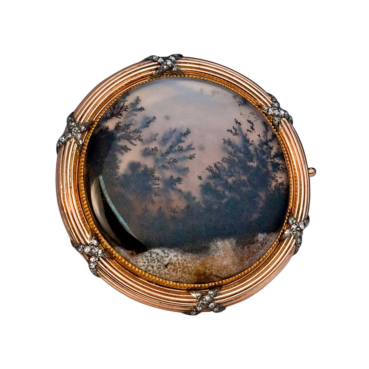 Romanov Russia moss agate brooch by Faberge