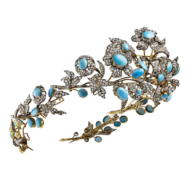 Mellerio dits Meller floral diamond and turquoise diadem, circa 1860