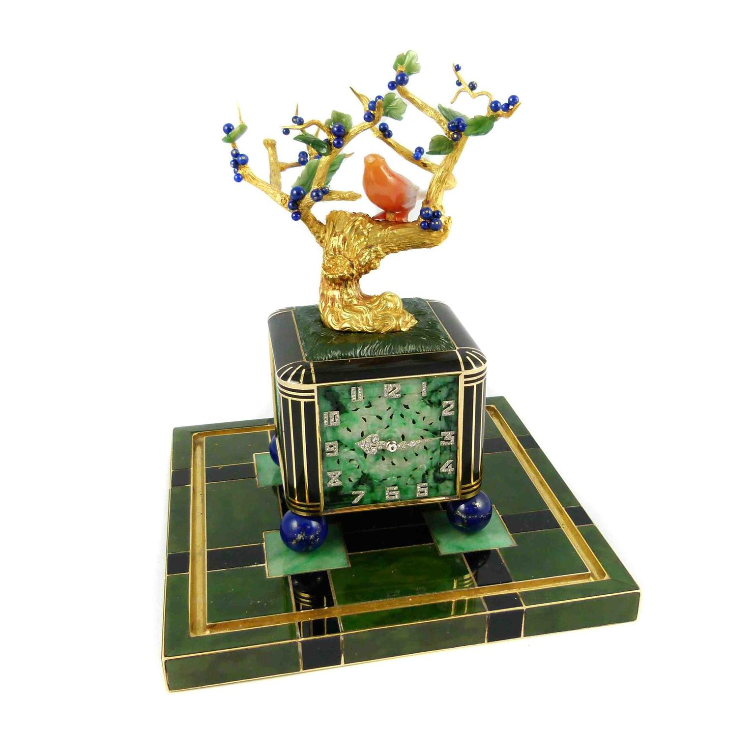 SJ Phillips' Bonsai tree and vase clock by Verger Frères