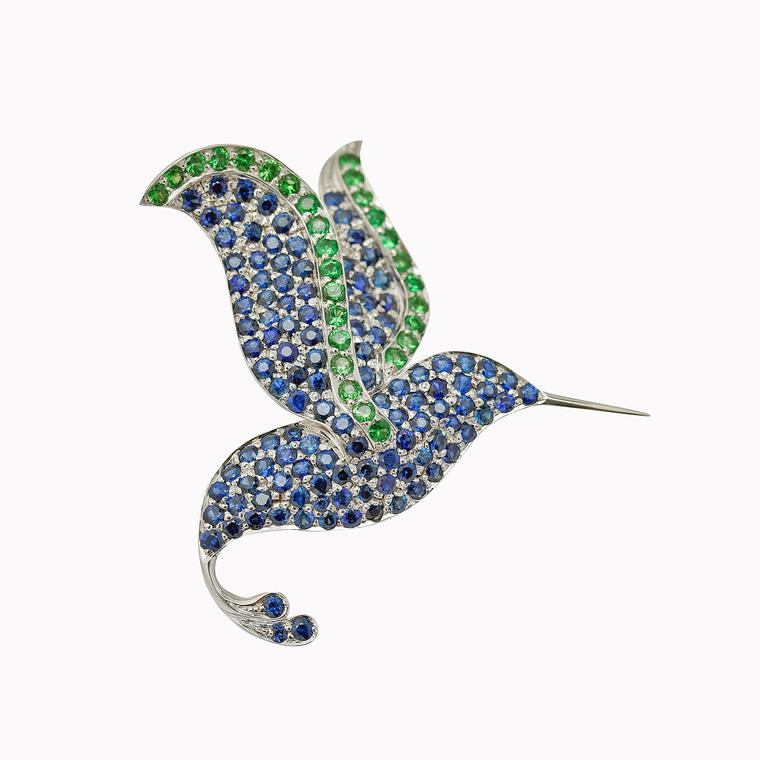 Careems Hummingbird brooch set with Sri Lankan sapphires and tsavorites