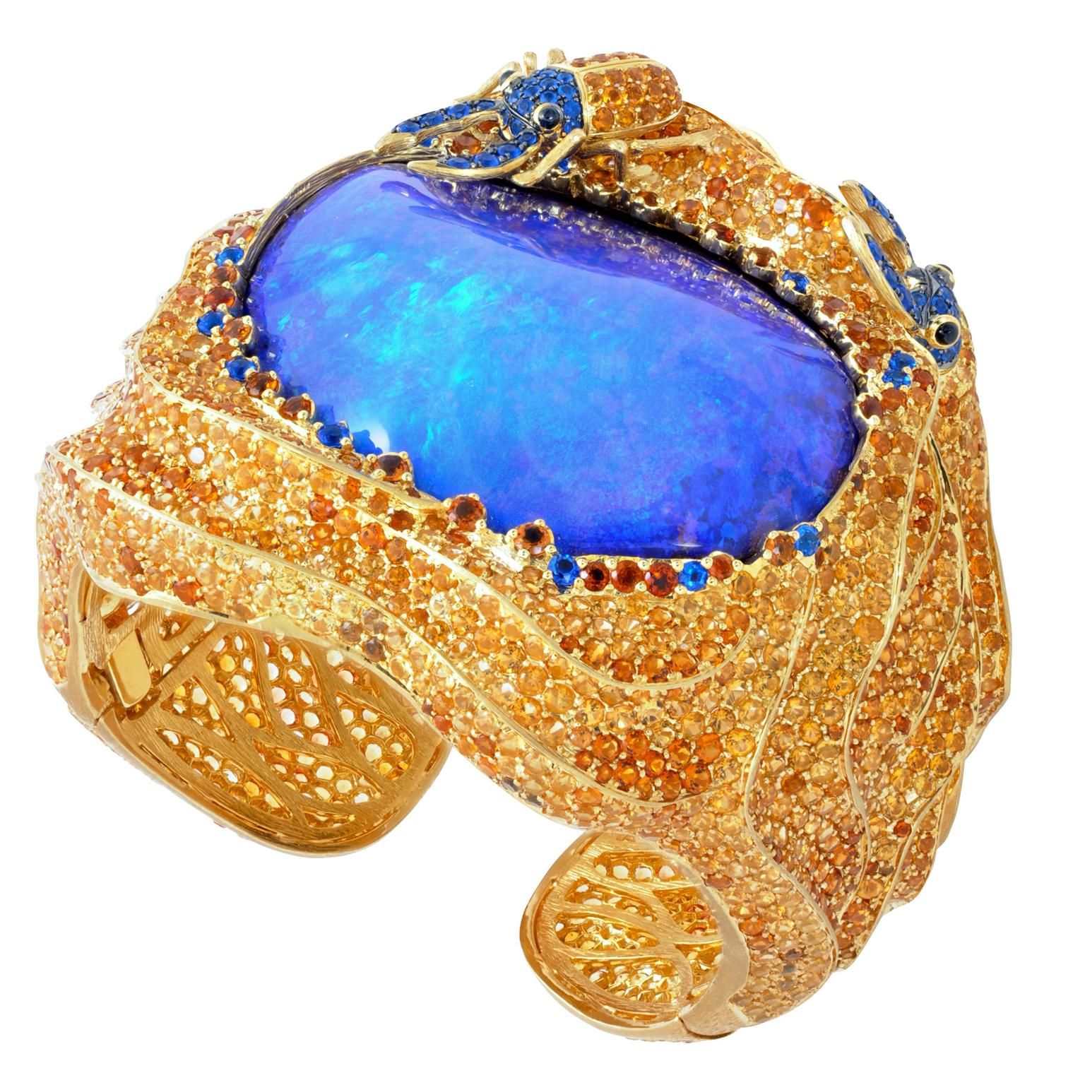 Lydia Courteille One-of-a-kind Sahara Boulder opal cuff