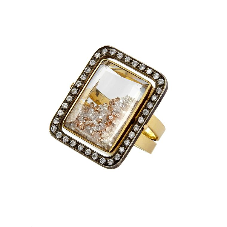 Moritz Glik yellow gold and blackened silver diamond ring
