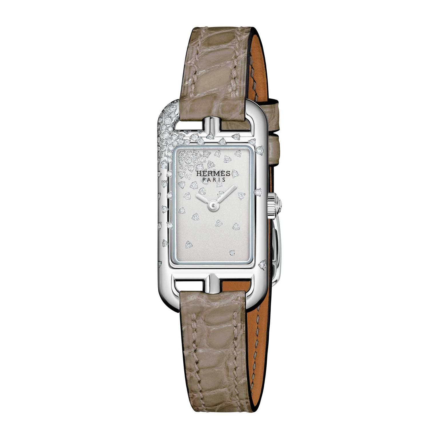 Hermes Nantucket Jete de diamants watch with brown alligator leather strap