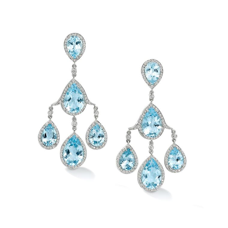 Robinson Pelham pagoda white gold earrings set with blue topaz and diamonds