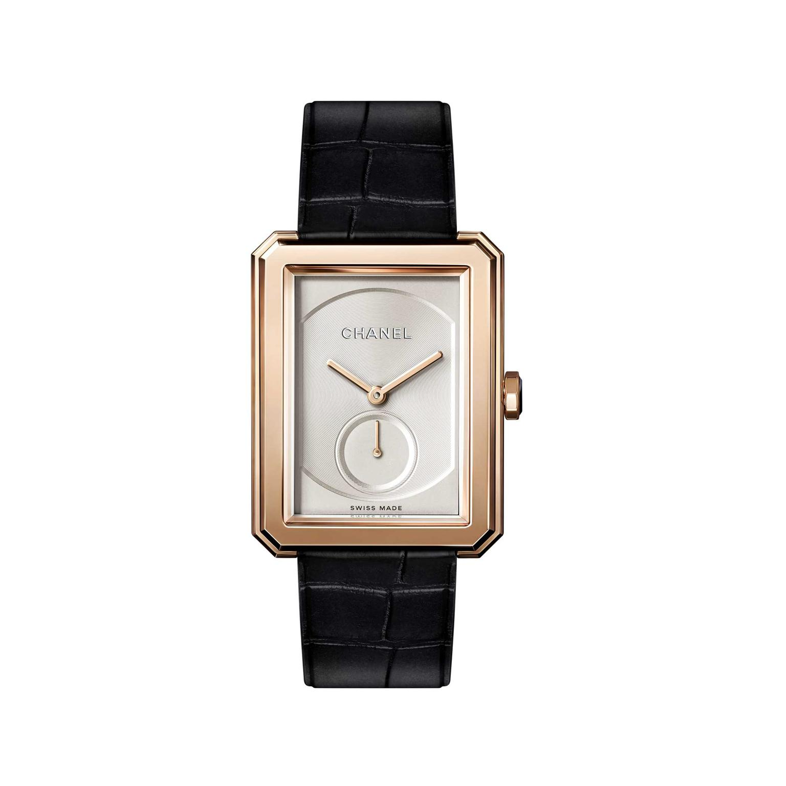 Chanel Boyfriend beige gold mechanical watch with small seconds