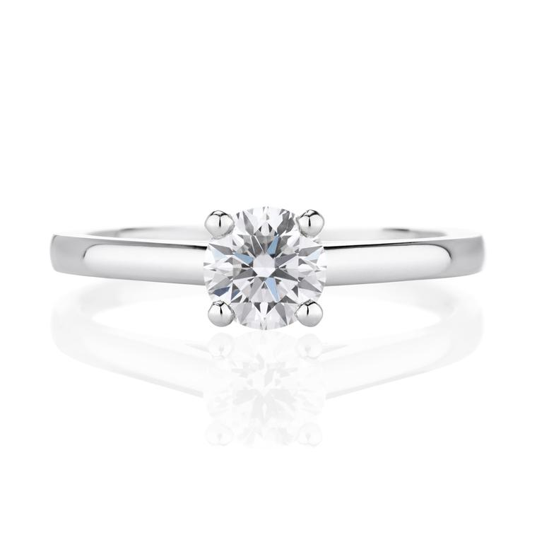 De Beers DB Classic 0.5ct round diamond engagement ring in platinum