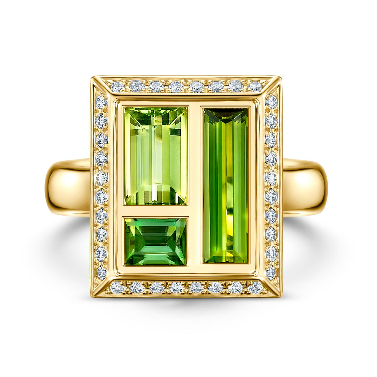 Andrew Geoghegan Chocolate Box green tourmaline cocktail ring