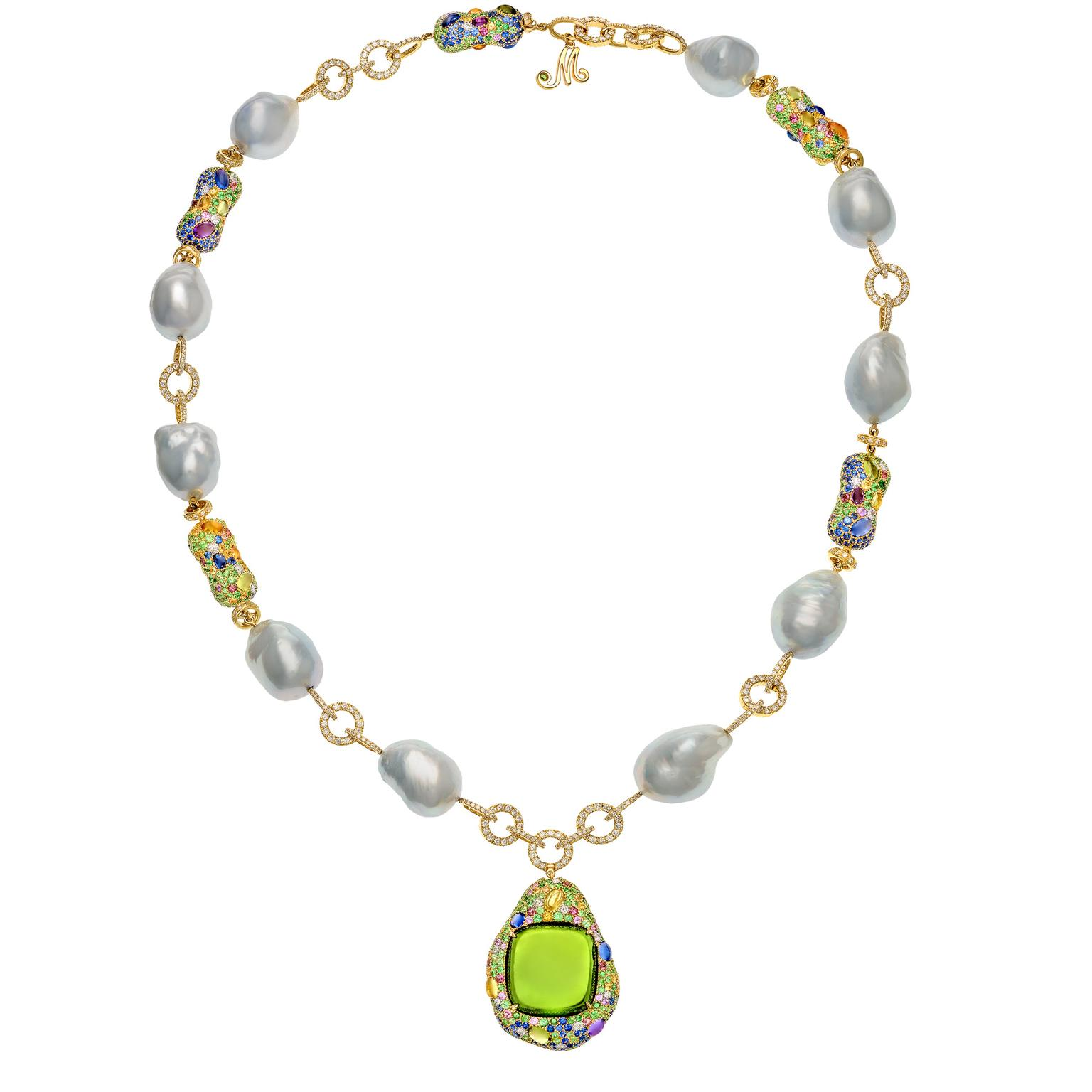 Margot McKinney green tourmaline and baroque pearl pendant
