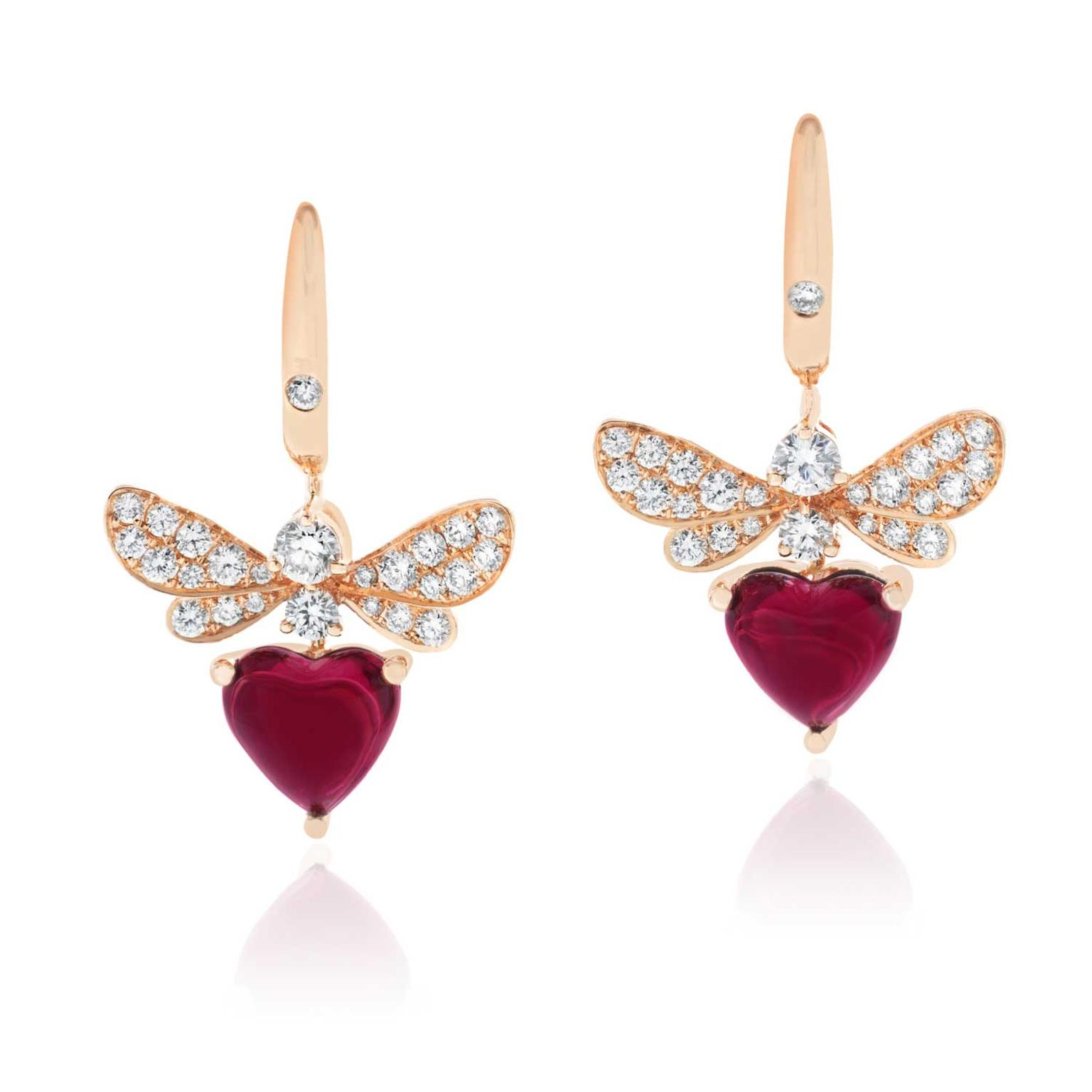 Stenzhorn Bee Mine rhodolite garnet and diamond earrings