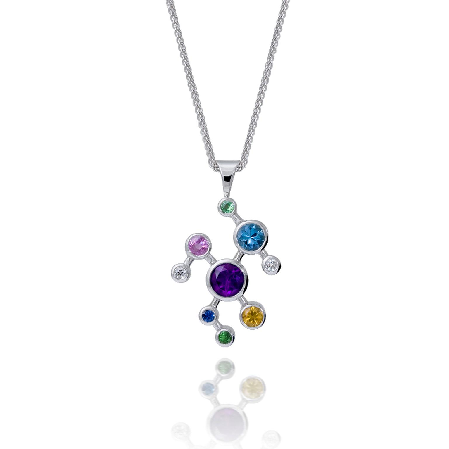 Alexander Davis Dendritic white gold and coloured gemstone pendant