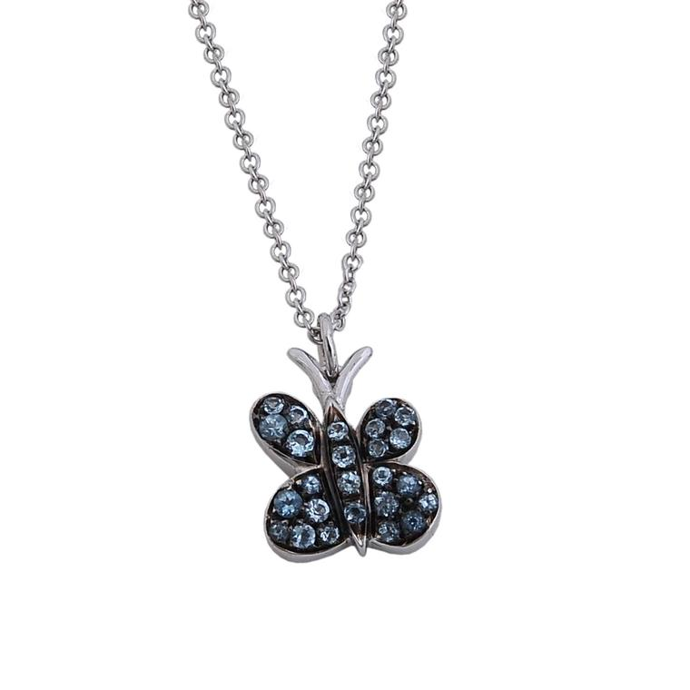 Francesca Villa Joie de Vivre white gold and blue topaz necklace
