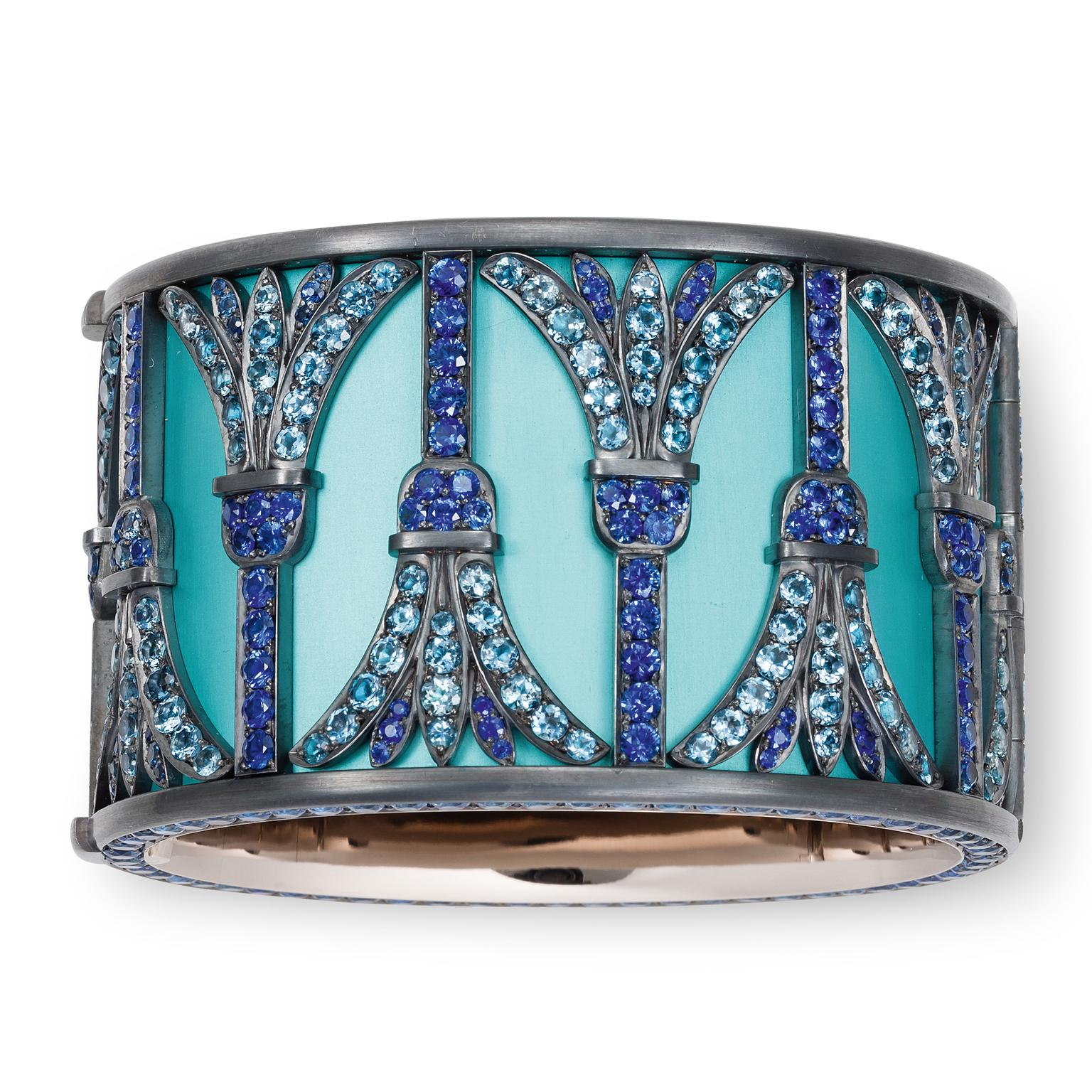 Hemmerle aquamarine and sapphire pharonic-style bangle