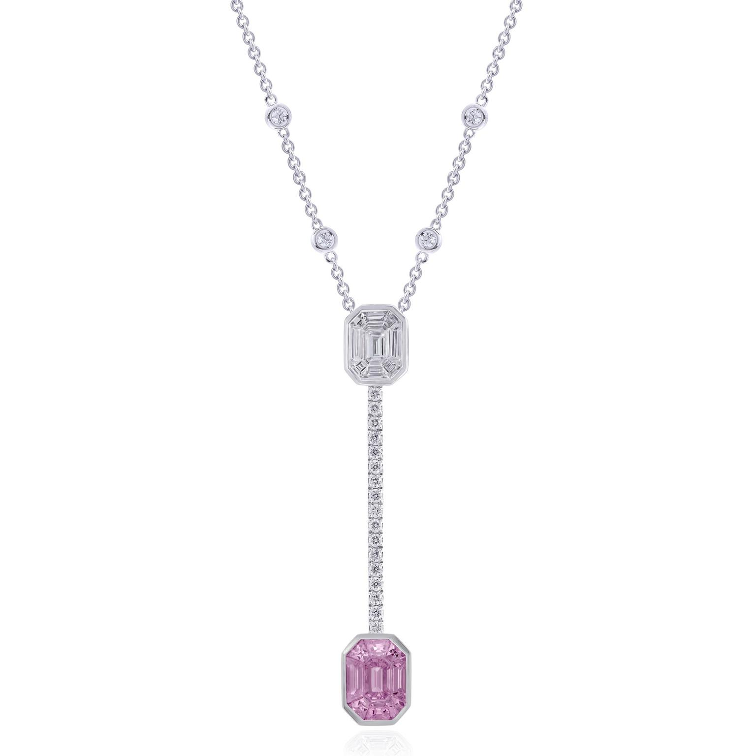 Stenzhorn pink sapphire and diamond necklace