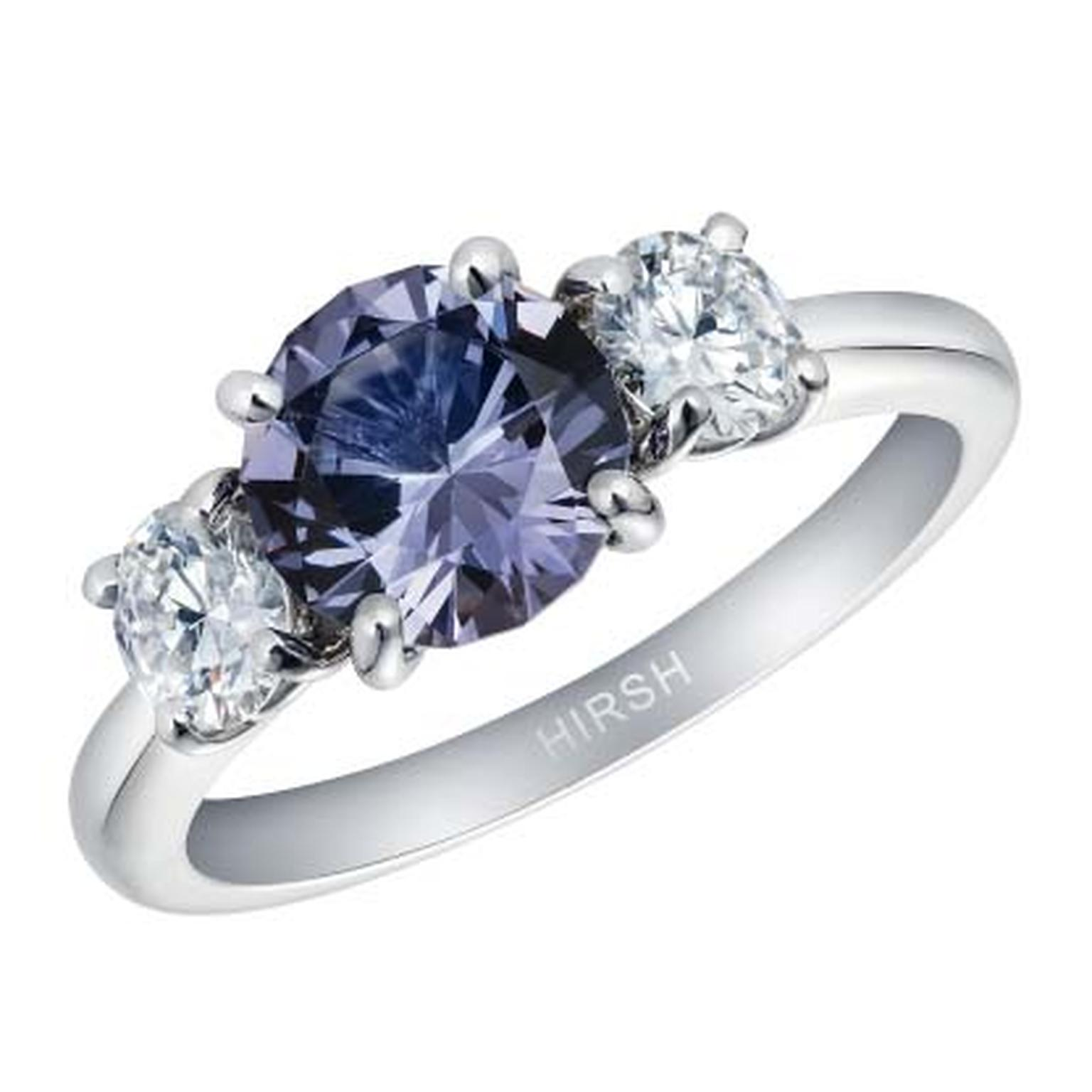 Hirsh London lavender spinel Trilogy engagement ring
