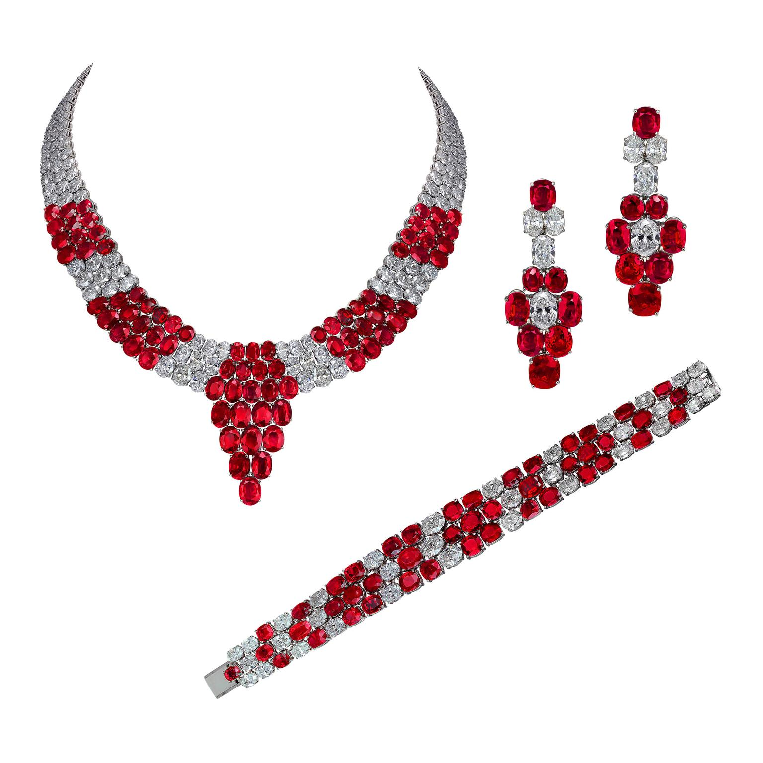 Jacob & Co Burmese ruby jewellery set
