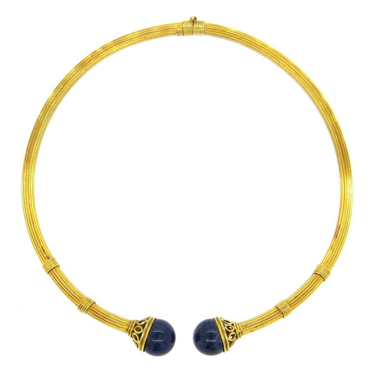 Gold and lapis lazuli torque necklace