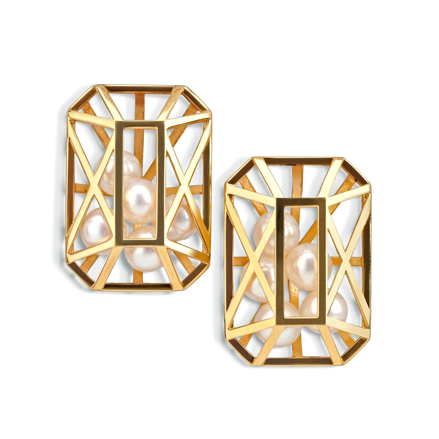 Melanie Georgacopoulos Caged collection pearl earrings