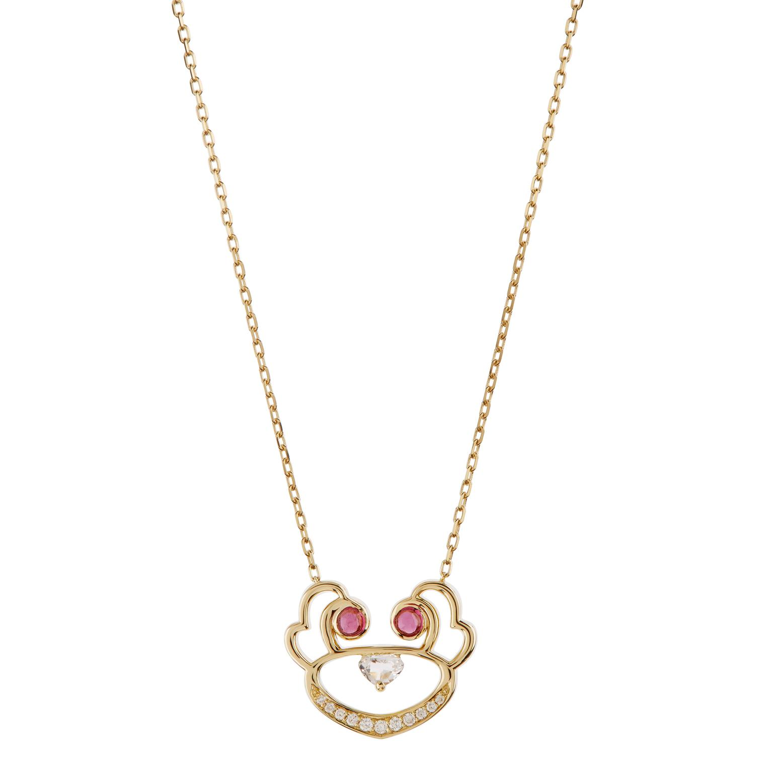Ruifier Visage Animaux Koko pendant with diamonds