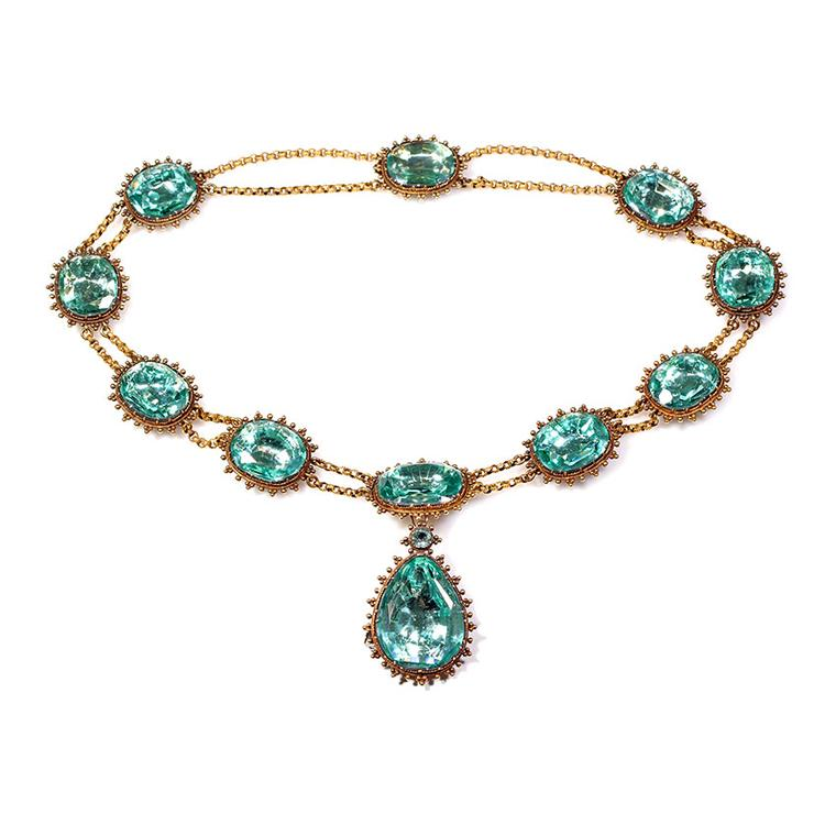 Bell and Bird aquamarine paste necklace