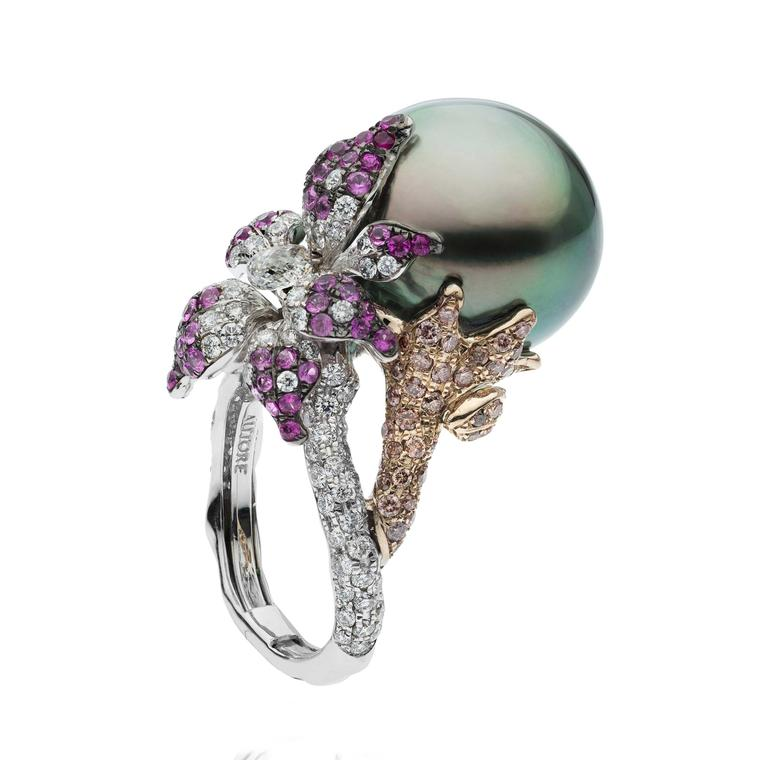 Autore Orchid Curly Pink black pearl ring