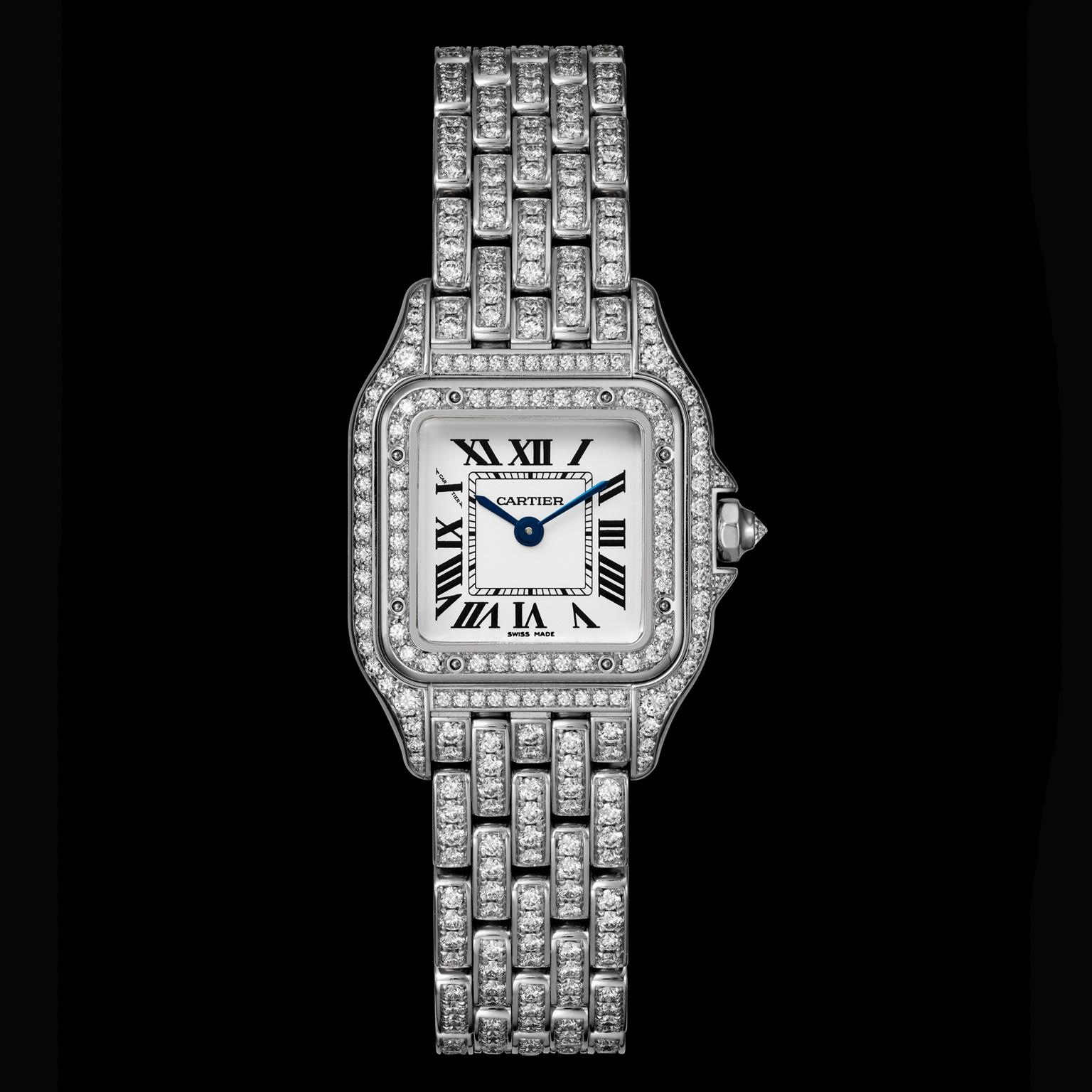 Small size Panthère de Cartier fully diamond-set watch in white gold
