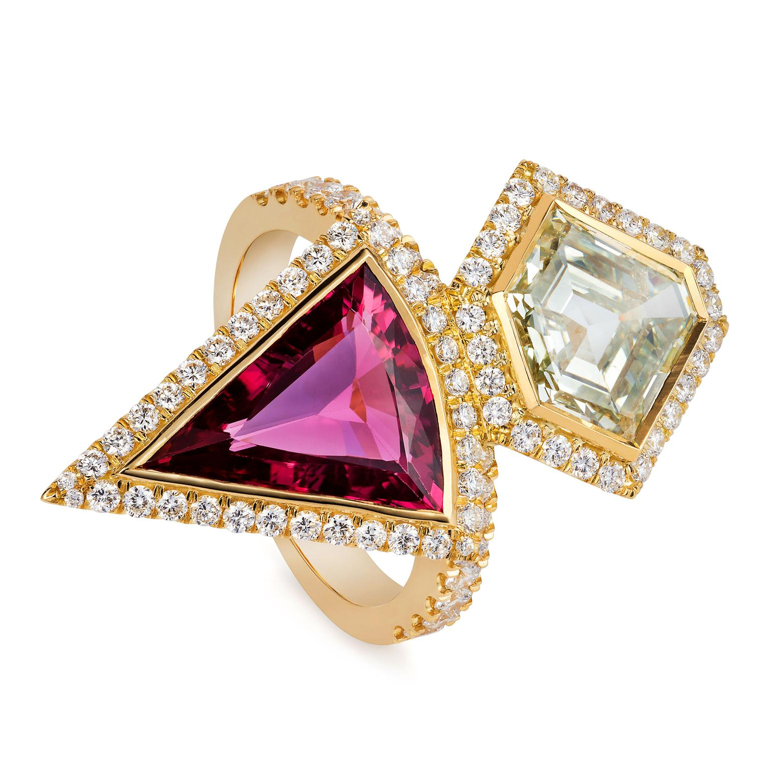 Sabine Roemer Superwoman diamond and pink tourmaline ring