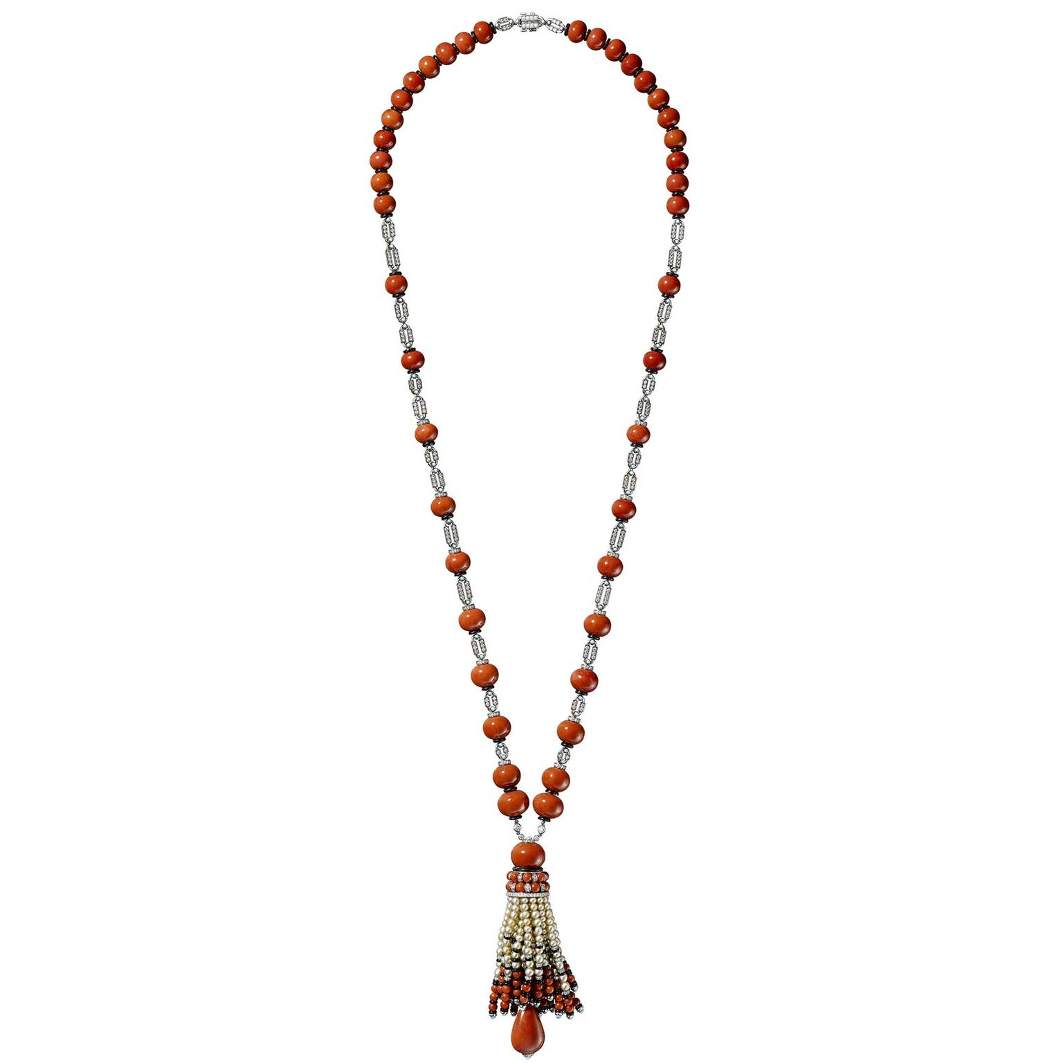Cartier Étourdissant high jewellery necklace with coral beads and natural pearls